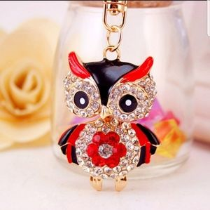 Other - RED & BLACK JEWELED OWL Keychain